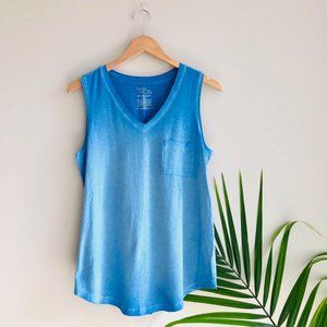 Time and Tru Pocket Sleeveless Tank Top Blue Sz M